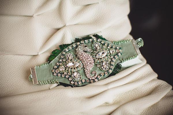 Bespoke Wedding Dress Belt Detail Incoporating Seahorse